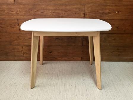 Прямоугольный обеденный стол белый (бочка)
